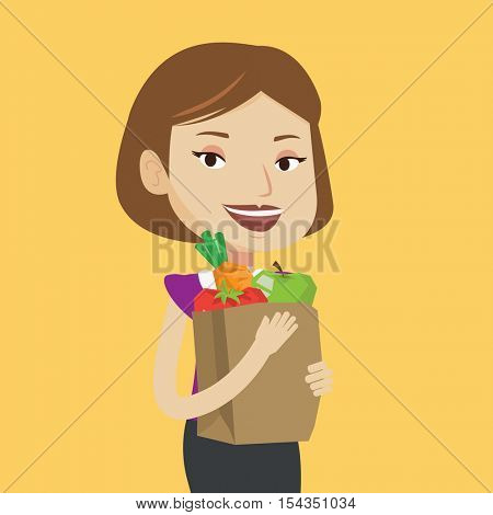 Caucasian woman holding shopping bag full of vegetables and fruits. Woman holding grocery shopping bag with healthy food. Girl with grocery shopping bag. Vector flat design illustration. Square layout