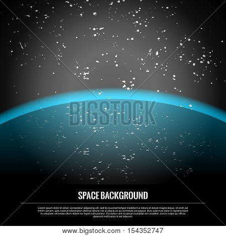 Vector Realistic Conceptual Space Travel Scene Background, approaching Blue Planet Earth in Starry Galaxy
