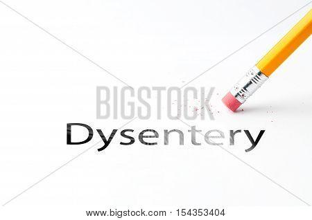 Closeup of pencil eraser and black dysentery text. Dysentery. Pencil with eraser.