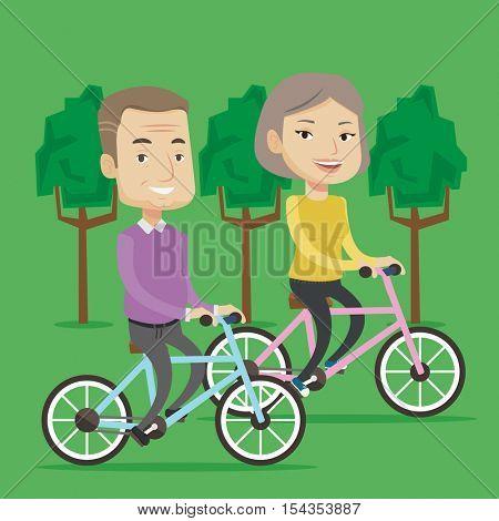 Old couple riding bikes in park. Senior couple riding on bicycles in park. Retired couple biking. Active senior couple enjoying walk with bicycles. Vector flat design illustration. Square layout.
