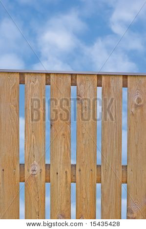 Wooden Picket Fence, Brown Natural Over Cloudscape, Clouds, Sky