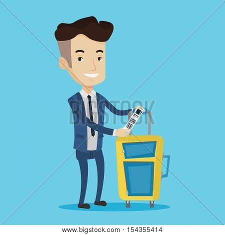 Man with suitcase with travel insurance tag. Business class passenger standing near suitcase with priority luggage tag. Businessman showing luggage tag. Vector flat design illustration. Square layout.