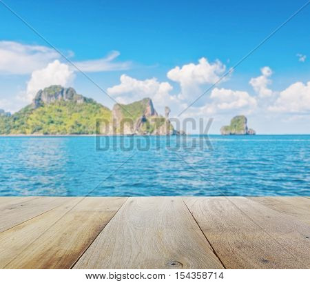 Wooden Platform With Blurred Beautiful Seascape Of Chicken Island (koh Kai) In The Andaman Sea, Off