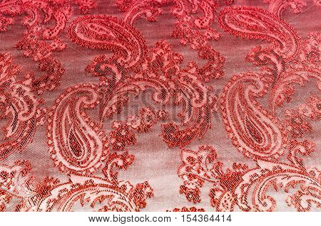 Fabric Silk Texture Gold Color, Red And Yellow Pattern