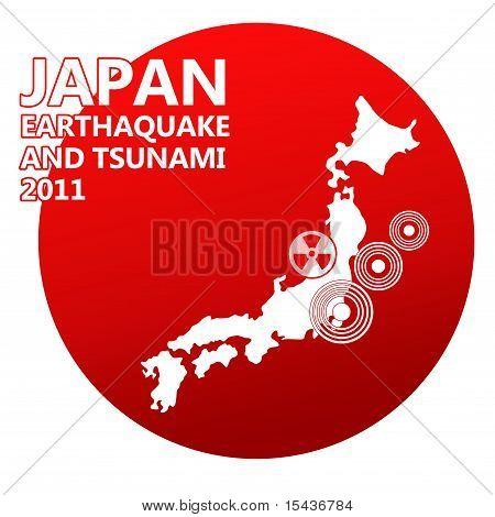 Japan illustration with danger sign