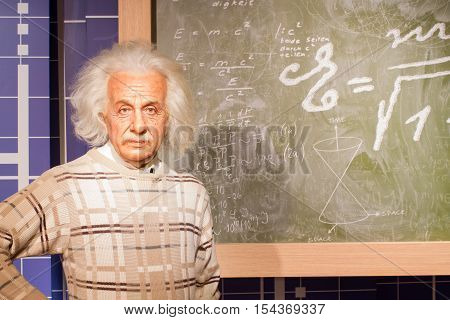 BANGKOK THAILAND - DECEMBER 19: Wax figure of the famous Albert Einstein from Madame Tussauds on December 19 2015 in Bangkok Thailand