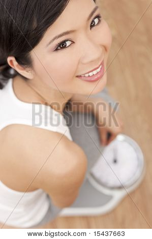 Oriental Asian Chinese Woman Weighing Herself On Scales At Gym