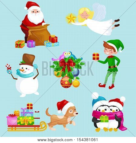 Santa Claus sack full of gifts, angel wings magic wand star, snowman candy, decoration ribbons balls birds, pet dog gifts in sleigh, penguins elf Vector illustration Merry Christmas and Happy New Year
