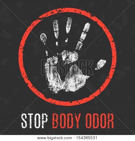 Conceptual vector illustration. Human diseases. Stop body odor.