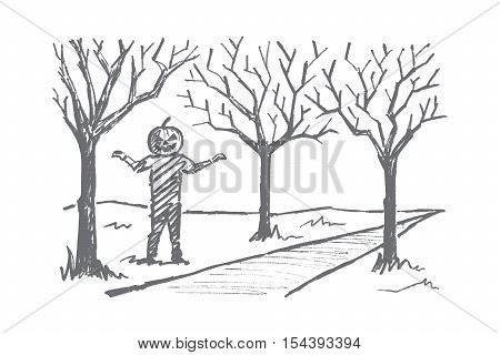 Vector hand drawn Halloween concept sketch. Man with head made of big pumpkin standing near autumn alley ready to frighten