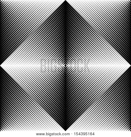 Seamless Geometric Pattern. Vector Black and White Cloth Ornament. Repeat Gradient Fabric Background. Minimal Monochrome Clothing Design. Fine Print Texture