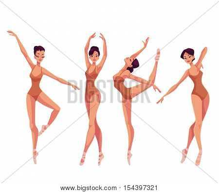 Set of young beautiful dancers in tights and ballet slippers, cartoon illustration isolated on white background. Young graceful ballet dancer wearing tights and ballet shoes, set of poses