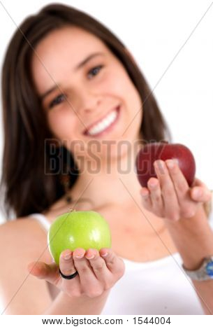 Beautiful Girl Holding Apples