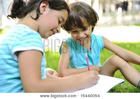Education in park, happy children
