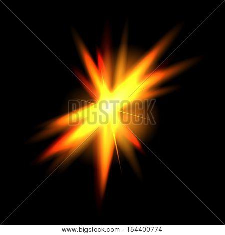 Vector golden glowing lights on transparent background. Special effect light rays. Spark, star burst, flash. Spotlight flare. Illumination.