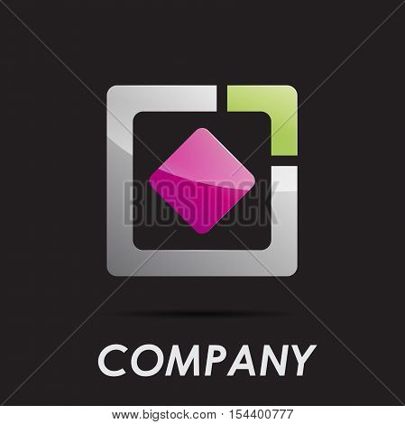 Vector logo abstract geometric shape, rhombus in square