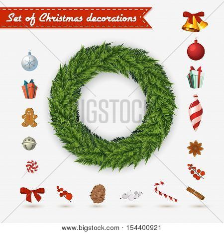 Vector Christmas wreath on a white background with a set of traditional Christmas decoration . Classic winter door decor a pick-me-up. Add the items to your liking or leave a wreath as is
