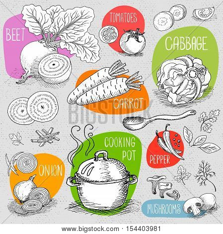 Set of stickers in sketch style, food and spices, old paper textured background. Cooking Pot, Spoon, mushrooms, beet, pepper, cabbage, onion, carrot. Hand drawn vector illustration.