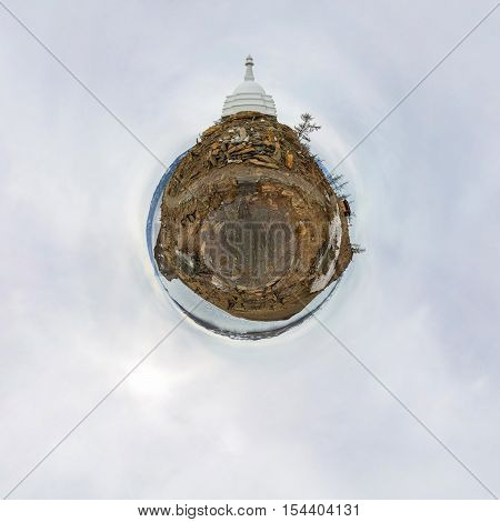 Spherical Panorama Of The Buddhist Stupa Of Enlightenment Ogoy On An Island In Lake Baikal. Little P
