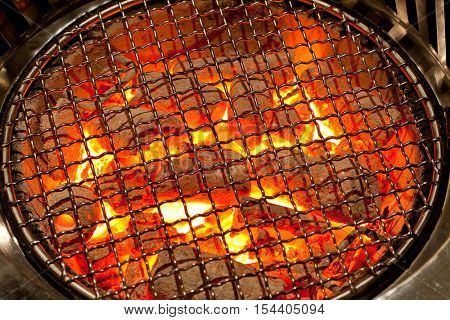 fired charcoal with grill plate for korean cuisine preparation