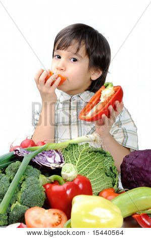 Healthy food, cute kid