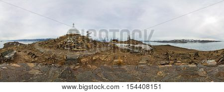 Cylindrical Panorama 360 Buddhist Stupa Of Enlightenment Ogoy On An Island In Lake Baikal.