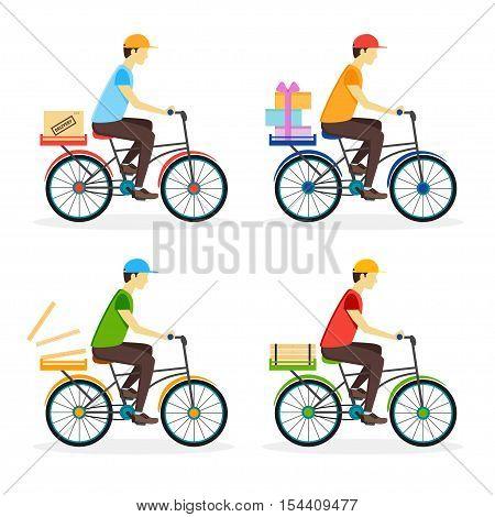 Delivery Boy on the Bike Set. Flat Design Style. Vector illustration
