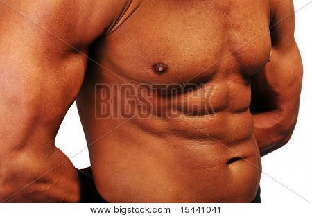 Strong man, stomach and chest musculature