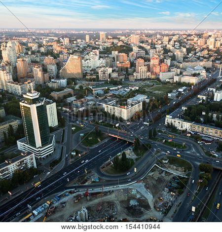 Aerial view of Kiev city. Ukraine at sunset. Outdoor.