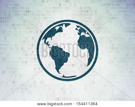 Studying concept: Painted blue Globe icon on Digital Data Paper background