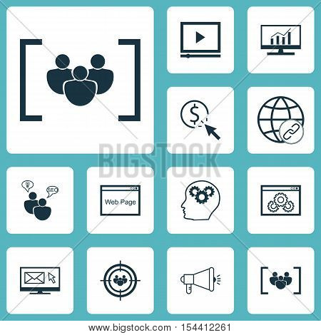 Set Of Advertising Icons On Questionnaire, Video Player And Seo Brainstorm Topics. Editable Vector I