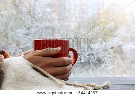 big red mug in the hands thrown over with a warm blanket against the window with frost / warming drink at home in winter