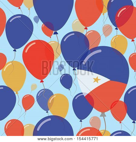 Philippines National Day Flat Seamless Pattern. Flying Celebration Balloons In Colors Of Filipino Fl