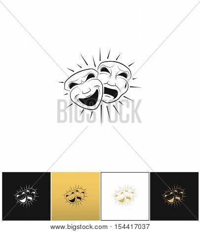 Theatrical comedy and tragedy masks vector icon on black, white and gold background