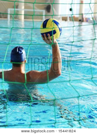 Waterpool goal and player with ball