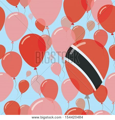 Trinidad And Tobago National Day Flat Seamless Pattern. Flying Celebration Balloons In Colors Of Tri
