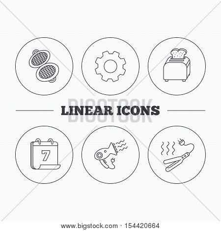 Curling iron, hair-dryer and toaster icons. Waffle-iron linear sign. Flat cogwheel and calendar symbols. Linear icons in circle buttons. Vector