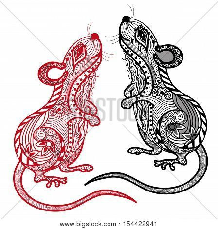 Rat vector illustration.Chinese zodiac and horoscope sign with beautiful line art.