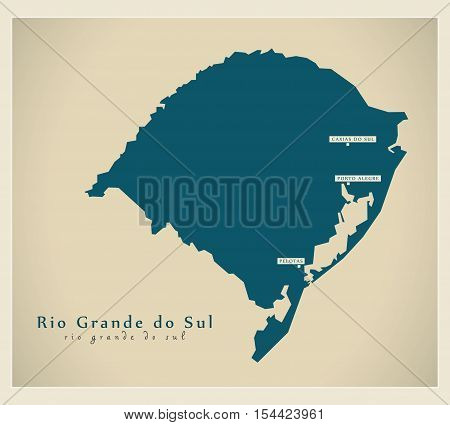 Modern Map - Rio Grande do Sul BR Brazil illustration vector