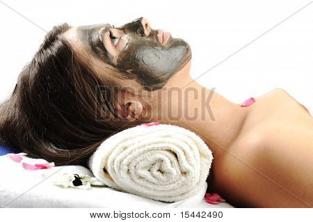 Sea Mud Mask on the woman's face.Spa