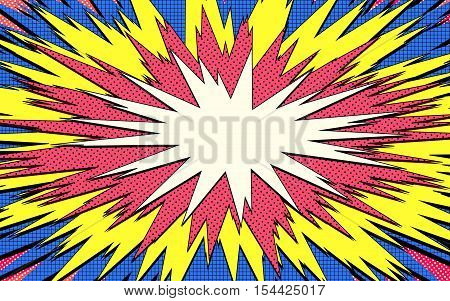 Explosion Steam Bubble Pop-art Web Header Set - Funny Funky Banner Comics Background. Vector Illustr
