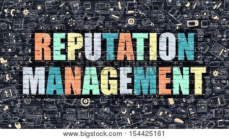 Reputation Management Concept. Reputation Management Drawn on Dark Wall. Reputation Management in Multicolor. Reputation Management Concept in Modern Doodle Style.