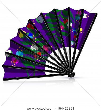 dark background and the purple fan with flowers