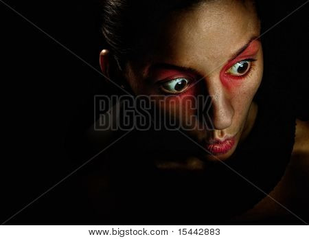 Scare, girl, red