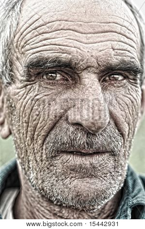 closeup portrait of old man, wrinkled elderly skin, face