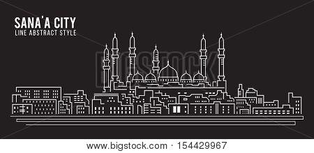 Cityscape Building Line art Vector Illustration design - Sana'a city