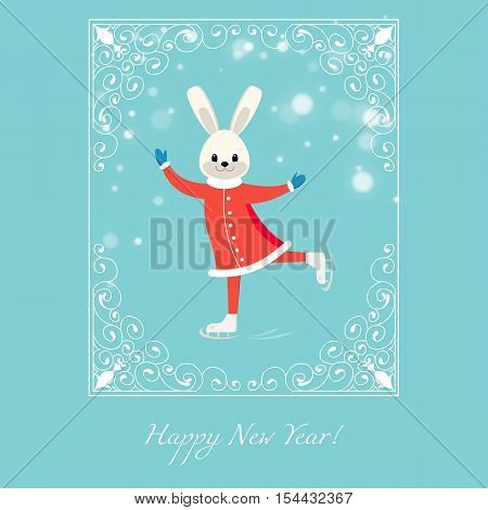 New Year Greeting Card With Cartoon Figure Skater Bunny With White Lacy Frame On Blue Background.