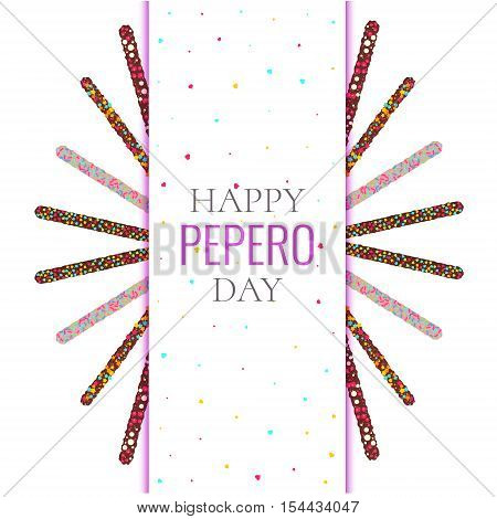 Happy Peppero Day card template on white background. Korean chocolate sticks. Festive vector illustration.