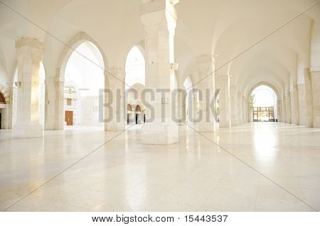 Madina mosque empty, conceptual indoor of oriental building. Fantastic background.
