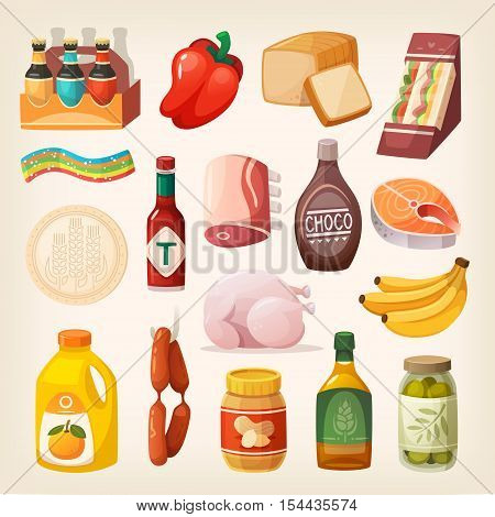 Everyday goods and food products and other items to buy at butcher grocery store liquor store and at supermarket. Isolated food icons for healthy lifestyle